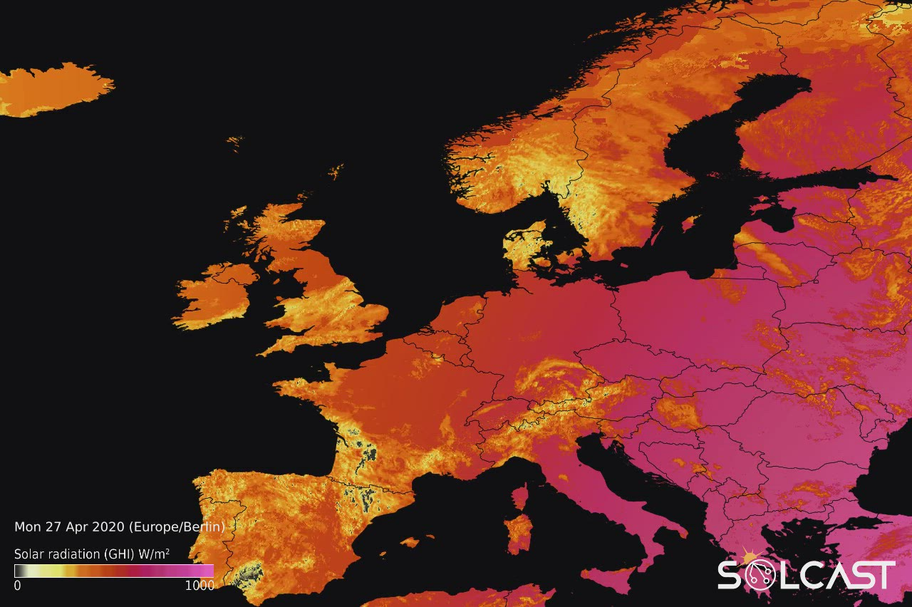 Solar irradiance data for Europe