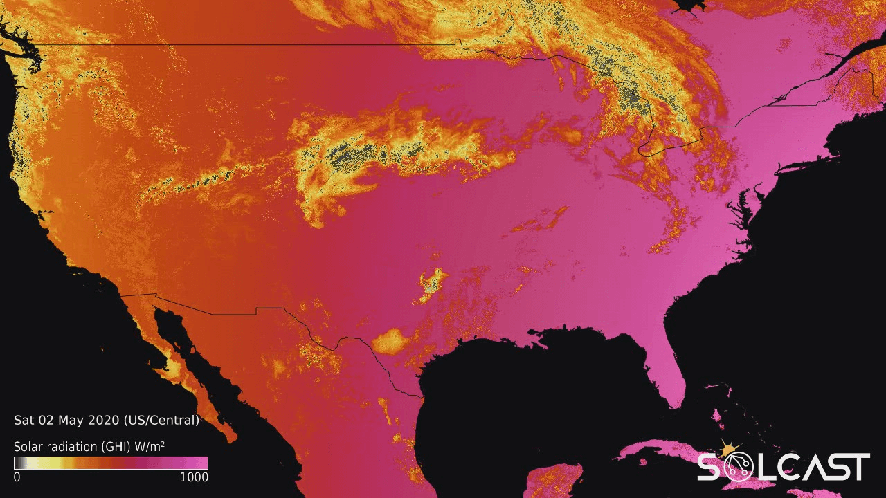 Solar irradiance map