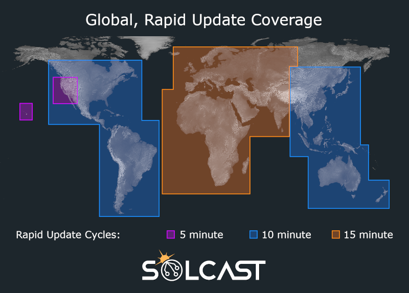 A global map showing satellite coverage